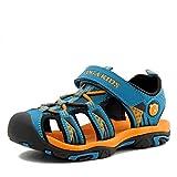NASONBERG Kinder/Jungen/Mädchen Schuhe Klettverschluss Sommer Sandalen, Gr.-27 EU, Blau