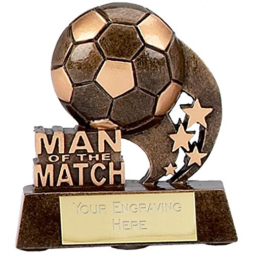 8 25cm Man of the match Football Swirl Trophy Free Engraving up to 30 Letters in board gift box