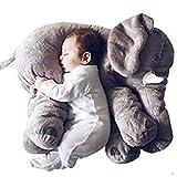 koobea Oreiller Forme Eléphant en Peluche Coussin pour Bebe et Enfants 60x45x25cm (Gris)