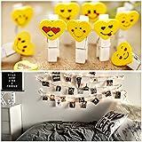 Glimmer Lightings String Lights Warm White Rice (30 Bulb 8 Meters) + Heart Face Wooden Clips (10) Led Love Gift