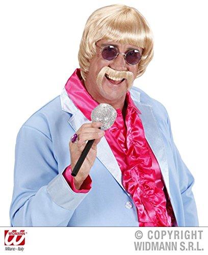 4-Teile-KOMBI-SET-60er-JAHRE-MUSIKER-Percke-blond-Schnurrbart-Brille-Mikrofon-Karaoke-Musik-Schlager-Popmusik-Mann-Mnner