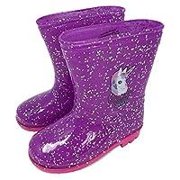 Unicorn Squad Girls Glitter Purple Wellington Boots Welly