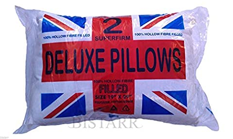 NEW RANGE OF PILLOWS Deluxe Pair, Bounce Back, Extra Large, Super Firm, Medium Support, Quilted, Memory Foam Hollowfibre And Polyester (Super Firm Deluxe Pillows Pair)