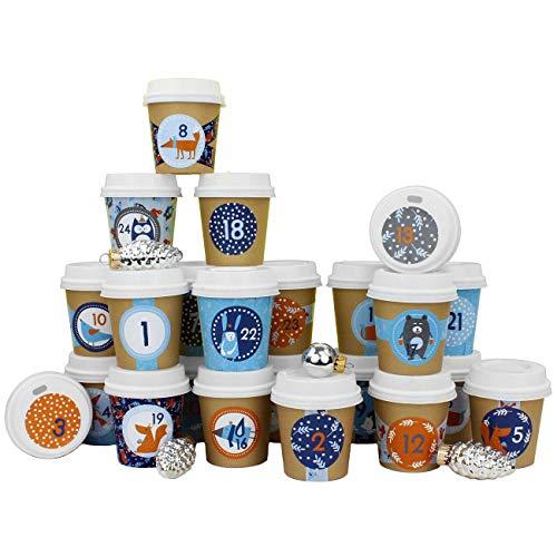 Papierdrachen DIY Adventskalender Espresso-Becher - zum selber Basteln und Befüllen - mit Waldtier Washi Tape - 24 Coffee to Go Cups - Design Set 32