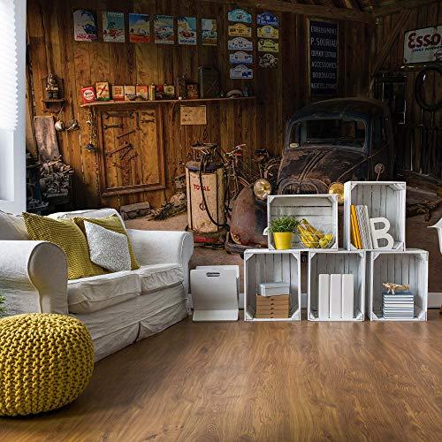 Oldtimer Dusty Garage Vlies Fototapete Fotomural - Wandbild - Tapete - 416cm x 254cm / 4 Teilig - Gedrückt auf 130gsm Vlies - 10518VEXXXL - Autos & Transport