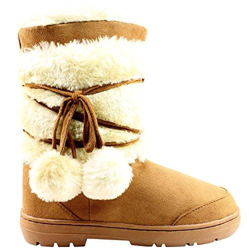 Holly Damen Schuhe Pom Pom Fell Schnee Regen Stiefel Winter Pelzstiefel, Schwarz, 40 EU