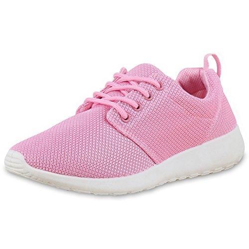 Flache Unisex Damen Herren Laufschuhe Profilsohle Sportschuhe Schnüren Sneakers Freizeitschuhe Pink Pink Weiss