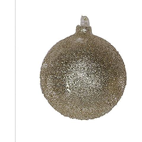 Pallina di Natale in vetro brinato argento e oro 8