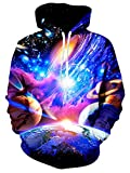 RAISEVERN Galaxy Weltall Planet Druck Coole Hip Hop Pullover Kapuzen Sweatshirt Teens, Sterne und Planeten, Klein