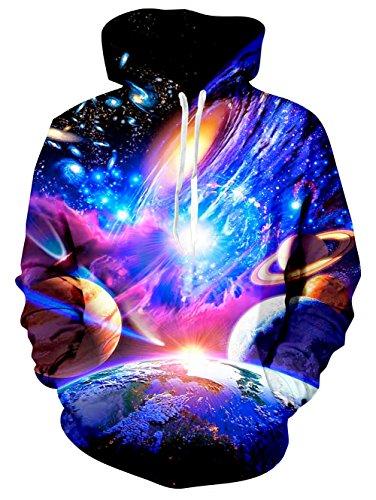 X-large Planeten Erde (Chicolife Galaxy Nebula Erde Jupiter Entwurf mit Fleece Futter Kapuzenpullover für Junioren, Sterne und Planeten, X Large)