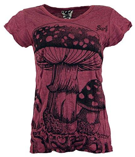 Guru-Shop Sure T-Shirt Fliegenpilz, Damen, Bordeaux, Baumwolle, Size:M (38), Bedrucktes Shirt Alternative Bekleidung