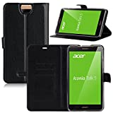 Acer Iconia Talk S (A1-734) custodia cover caso, KuGi ® Acer Iconia Talk S (A1-734) caso - Multi-Angle basamento di Slim-Book PU Cover in pelle di caso per Acer Iconia Talk S (A1-734) Tablet.(Nero)