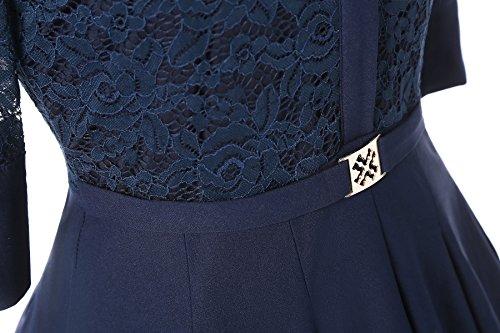 Gigileer Elegant Damen Kleider Spitzenkleid Cocktailkleid Winter Knielanges 3/4 Arm festlich hochzeit Marineblau L -
