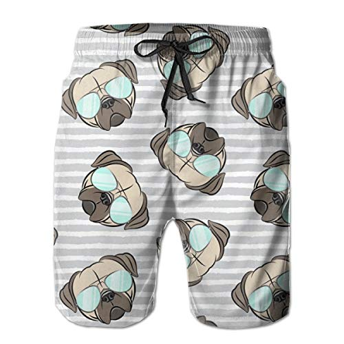 hulili Men's Quick Dry Swim Trunks Pugs W Sunnies On Grey Stripes Pug Cute Dog Face Colorful Beach Shorts with Mesh Lining