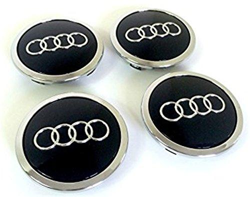Set 4caches-moyeu für Audi Schwarz 69mm 8T0601170A geeignet für AUDI A3A4A5A6A7A8S4S5S6S8RS4Q3Q5Q7TT A4L A6L S Line Quattro und weitere Modelle 8t0601170 (Audi S8 Modell)