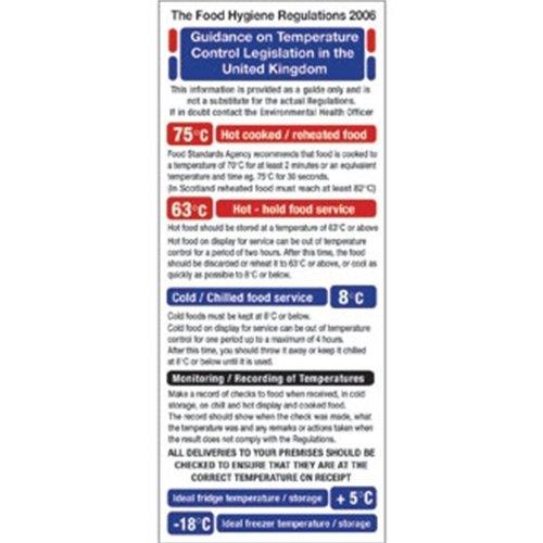 1995Food Act Cook Chill Richtlinien Schild Hinweis Sicherheit Poster 200x 100mm Chill Food