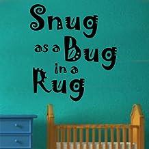 "Camiseta de manga Kanvas 60 x 67 cm tamaño grande ""Snug As A Bug con una altura máxima de alfombra con texto en inglés"" vinilo adhesivo decorativo para pared, Yellow_Parent, rojo, 60 x 67 cm Large"
