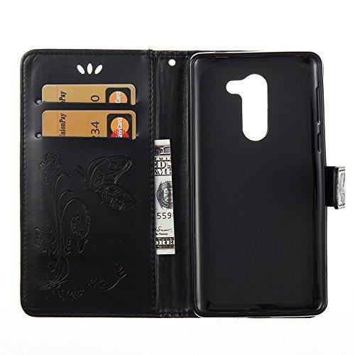 EKINHUI Case Cover Horizontale Folio Flip Stand Muster PU Leder Geldbörse Tasche Tasche mit geprägten Blumen & Lanyard & Card Slots für Huawei GR5 2017 ( Color : Blue ) Black