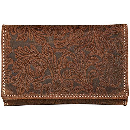 Wildery Damen Geldbörse im Vintage Look aus echt Leder als Langbörse Portemonaie mit Blumen-Prägung Geldbeutel (Braun) -