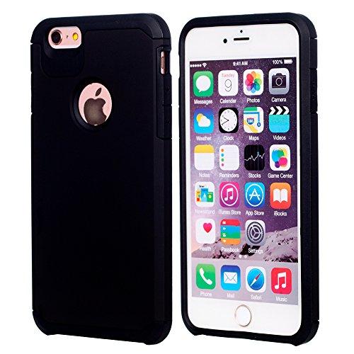 UKDANDANWEI iPhone 6 / 6s Dual Layer Fallschutz Anti-Scratch Rugged Armor Defender Case Tasche Schutzhülle für iPhone 6 / 6s - Schwarz Schwarz