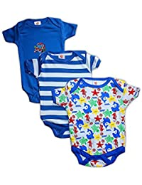 Baby Station Boy's Cotton Rompers, 6-9 Months (Multicolour, BS MB Romper Boy 6-9) - Pack of 3