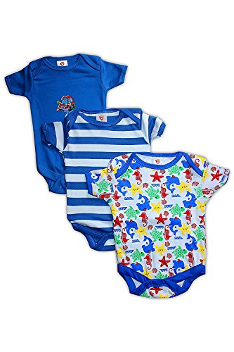 Baby Station Baby Rompers Short Sleeves 3pcs Summer Suit For Baby Boy (Print May Vary) (New Born)