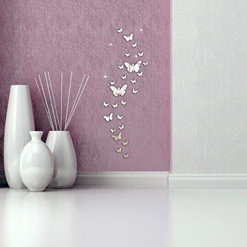 Ningsun 30pc farfalla combinazione 3d specchio adesivi murali decorazione eleganti per la casa fai da te home decor decorazione regolazione tv e divano(argento)