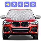 Zenoplige Car Windscreen Frost Cover Snow Magnetic Cover Windshield Sun Protector Waterproof Dust Cover and Ice Protector in All Weather Car Cover with Two Mirror Covers(157×126cm)