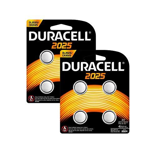 Duracell Specialty 2025 Lithium-Knopfzelle 3V, 8er-Packung (CR2025/DL2025) entwickelt für die Verwendung in Schlüsselanhängern, Waagen, Wearables und medizinischen Geräten.