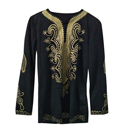 Herren T-Shirt Ronamick Mens Hipster Hip Hop afrikanische Dashiki Grafik Langarm Top Shirts Bluse (Schwarz, XXXL)