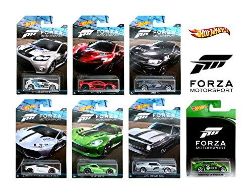 Hot Wheels Forza - Set of 7 Diecast Car's (Falcon Ford Race Car, AMC Javelin AMX, 13' SRT Viper, McLaren P1, Lamborghini Huracan LP 610-4, BMW M4, 09 Ford Focus RS)