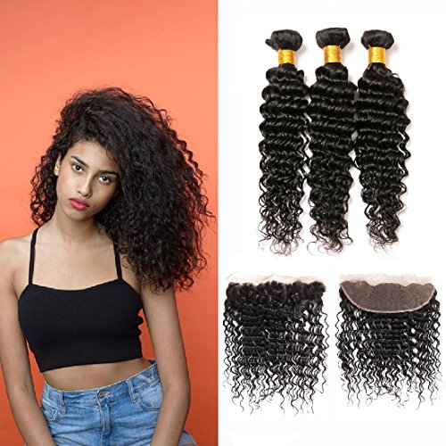 Curly ear to ear closure swiss lace frontal bleached knots 4x13 with baby hair and 3 bundle of brazilian hair deep weave(14 16 18 +12)