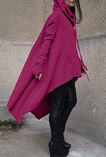 Pullover Lungo Donna Felpa Cappuccio Collo Alto Sweatshirt Elegante Maniche Lunghe Vestito Felpe Tumblr Ragazza Invernali Casual Hoodies Maglietta Jumper Tops Viola