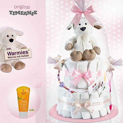 Timfanie® Windeltorte   Warmies® Wärme-Schaf (2-stöckig zart-rosa-punkt) + gratis Baby-Geschenk