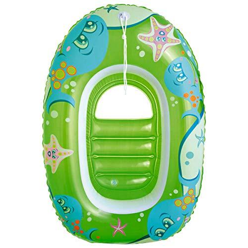 Bestway! Kinderboot aufblasbar für Kinder, mit Zugseil und Sichtfenster im Boden, 2 Luftkammern, Sicherheitsventile, Längeca.100 cm, lieferbar in rot oder grün (Grün)