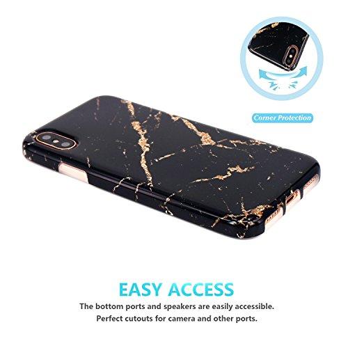 Coque iPhone X, JIAXIUFEN Silicone TPU Étui Housse Souple Antichoc Protecteur Cover Case - Noir Blanc Marbre Désign Black Gold