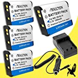 Four Halcyon 1200 mAH Lithium Ion Replacement Battery and Charger Kit for Nikon COOLPIX S6800 Digital Camera and Nikon EN-EL19
