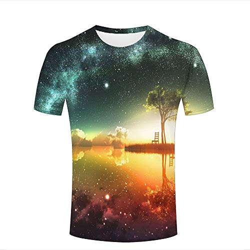 Mens 3D Printed T-Shirts Fantasy Starry Sky and Calm Lake Creative Novelty Short Sleeve Tops Tees L