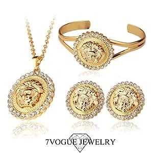GOMO 18K Real Gold Plated Medusa Wedding Dress Jewelry Rhinestone Pendant Earrings Bangle Vintage Jewelry Set