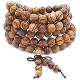 ChicJ&Y 8MM 108 Cuentas de oración Mala Pulsera Agarwood Tibetano Budista Buda meditación Collar/Pulsera