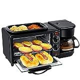Wjsw Haushalt Multifunktions Schnell Frühstück Maschine,9L Elektroofen /3 In 1 Toaster Spiegelei Kaffeemaschine,Schwarz