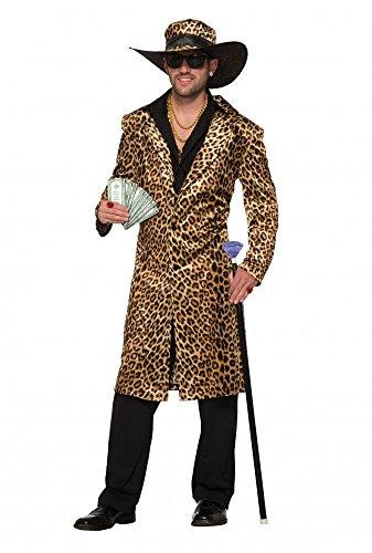 Funky Leopard Pimp Herren-Kostüm Gr. L Mantel und Hut Fell Lude Zuhälter Pelzmantel Stenz Assi Proll Pimp Leopard