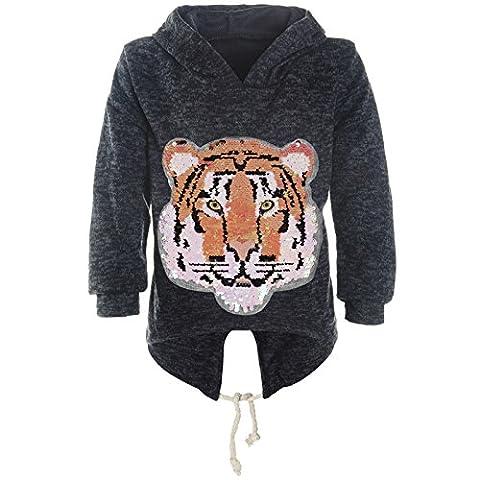 BEZLIT Mädchen Kapuzen Pullover Pulli Wende Pailletten Sweatshirt Hoodie 21484, Farbe:Blau,
