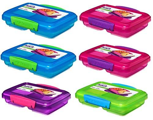 Sistema Lunchbox 6er Set Vorteilspack Familienset small Split 2fach unterteilt 350 ml 2x pink 2x lila 1x grün 1x blau 41518