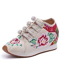 562e9cc43ab Las Mujeres de la Felpa Corta Bordado de la cuña de la Flor Aumentaron  Ocasionales Zapatillas