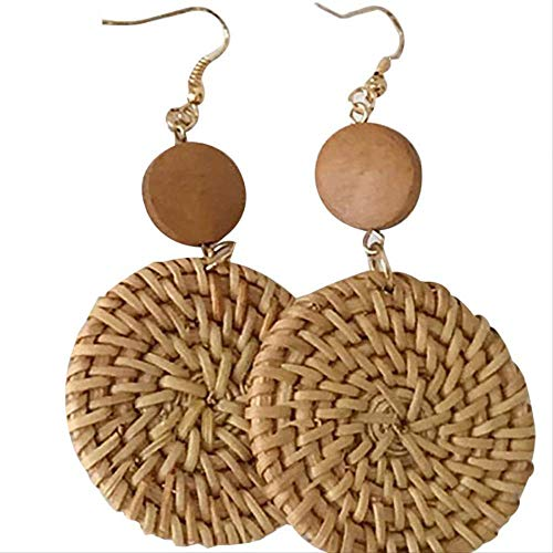 PMFS Exquisitive Weave Rattan Long Dangle Personality Handmade Straw Elegant Earrings Charm Women Jewelry
