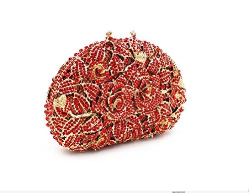 Damen-Abendessen Set Diamant Strass Diamanten und Mappe voll tragbaren Bankett Tasche Red