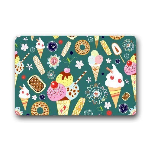 Custom Machine-washable Door Mat Delicious Seamless Pattern with Cakes Indoor/Outdoor Decor Rug Fußabtreter 23.6