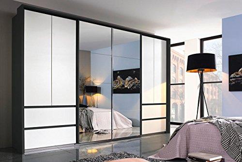 Kleiderschrank, Schlafzimmerschrank, Wäscheschrank, Schwebetürenschrank, Dielenschrank, 6-türig, Schubladen, grau-metallic, alpinweiß, Spiegel