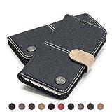 QIOTTI Hülle Kompatibel mit Galaxy S6 Ledertasche aus Hochwertigem Leder mit Kartenfach Handyhülle Tasche in Denim Creme
